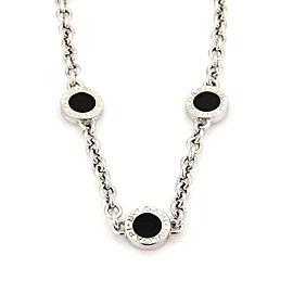 Bulgari Bvlgari 18K White Gold and Onyx 3 Circle Station Chain Necklace