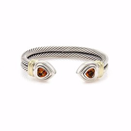 David Yurman Sterling Silver and 14K Yellow Gold Citrine Double Band & Hearts Cuff Bracelet
