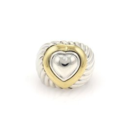 David Yurman 18K Yellow Gold & 925 Sterling Silver Cable Heart Dome Ring Size 6.5
