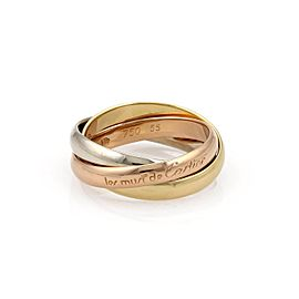Cartier Trinity 18K Yellow, White and Rose Gold Rolling Band Ring Size 7