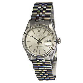 Rolex Date 1500 Stainless Steel Silver Dial Automatic Vintage 34mm Mens Watch