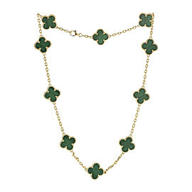Vintage Van Cleef & Arpels 18K Yellow Gold Malachite Necklace