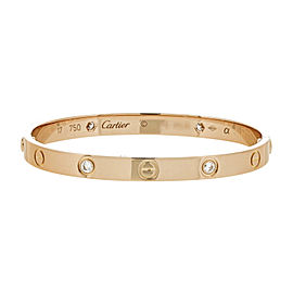 Cartier Love 18K Rose Gold 4 Diamond Bangle Bracelet Size 17