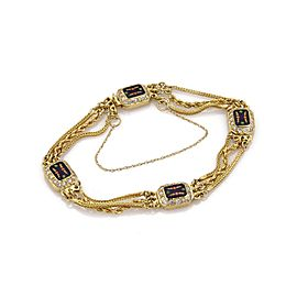 18K Yellow Gold with 0.84ct Diamond & Enamel Vintage Triple Chain Mughal Bracelet