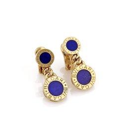 Bulgari 18K Yellow Gold with Lapis Double Circle Post Clip Earrings