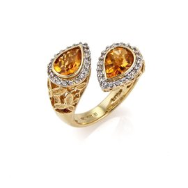 LeVian 18K Yellow Gold with Diamond & Citrine Bypass Ring Size 6