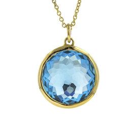 Ippolita 18K Yellow Gold with Blue Topaz Lollipop Swiss Pendant Chain Necklace