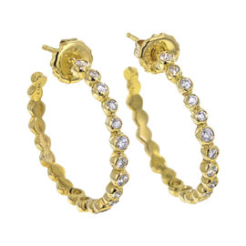 Ippolita 18K Yellow Gold with 0.67ct Diamond Stardust Hoop Earrings
