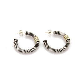 David Yurman 925 Sterling Silver & 14K Yellow Gold Cable Hoop Earrings