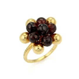 Marco Bicego Acapulco 18K Yellow Gold & Garnet Beaded Cluster Ring Size 7.5