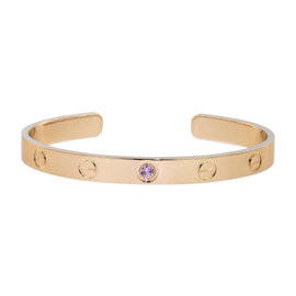 Cartier Love 18K Rose Gold with Pink Sapphire Cuff Bracelet Size 16