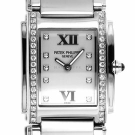 Patek Philippe Twenty-4 4910 / 10A-011 Stainless Steel with Diamond Quartz 25mm Womens Watch