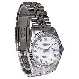 Rolex Datejust 16220 Stainless Steel White Roman Dial Automatic 36mm Mens Watch
