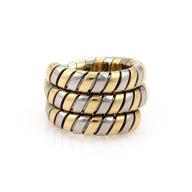 Bulgari Tubogas 18K Yellow Gold & Stainless Steel Wide Band Ring Size 7.5