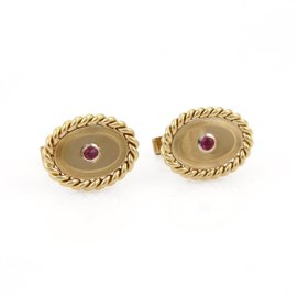 Tiffany & Co. Pink Tourmaline 18K Yellow Gold Oval Stud Cufflinks