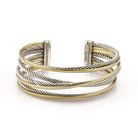 David Yurman Sterling Silver and 18K Yellow Gold Triple Crossover Cable Cuff Band Bracelet