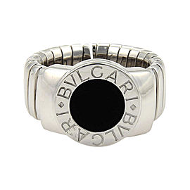 Bulgari Tubogas 18K White Gold & Onyx Band Ring Size 5