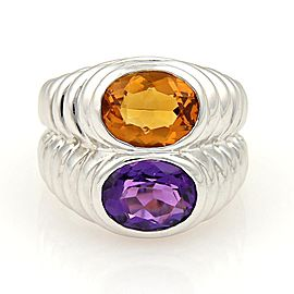 Bulgari 18K White Gold 4.20ct. Oval Cut Amethyst & Citrine Stack Ring Size 5.5
