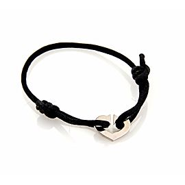 Cartier 18K White Gold C Hearts of Cartier Charm & Black Cord Bracelet