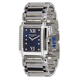 Patek Philippe Twenty-4 4910/10A-010 Stainless Steel & Diamond Blue Dial 25.1mm Womens Watch