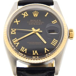 Rolex Datejust 16013 18K Yellow Gold and Stainless Steel with Black Dial 36mm Mens Watch