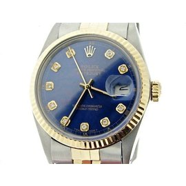 Rolex Datejust 16013 18K Yellow Gold and Stainless Steel with Blue Dial 36mm Mens Watch