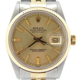 Rolex Datejust 16013 14K Yellow Gold and Stainless Steel with Champagne Dial 36mm Mens Watch