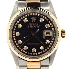 Rolex Datejust 16013 18K Yellow Gold / Stainless Steel Custom Diamond Automatic 36mm Mens Watch