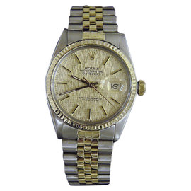 Rolex Datejust 16013 18K Yellow Gold and Stainless Steel with Yellow Dial 36mm Mens Watch