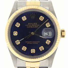 Rolex Datejust 16013 Stainless Steel / 18K Yellow Gold Custom Diamond Automatic 36mm Mens Watch