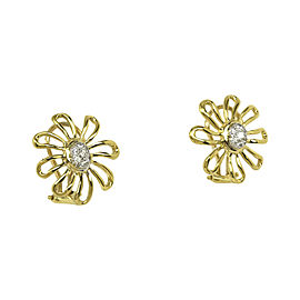 Tiffany & Co. Paloma Picasso 18K Yellow Gold, Platinum and 0.28ct Diamonds Floral Earrings