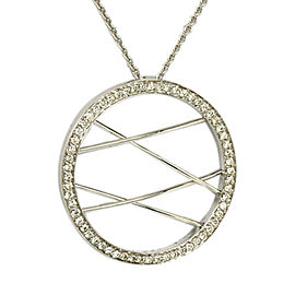 Movado 18K White Gold with 0.50ct Diamond Circle Of Live Pendant Chain Necklace
