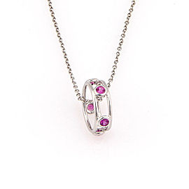 Tiffany & Co. Elsa Peretti 18K White Gold & 0.25ctw Pink Sapphire Color By The Yard Pendant Necklace
