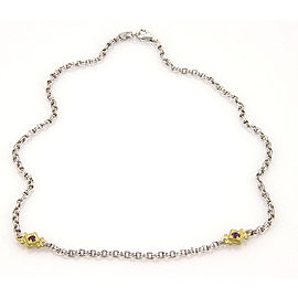 Judith Ripka 925 Sterling Silver & 18K Yellow Gold with 0.40ct Amethyst Chain Link Necklace
