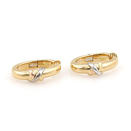 Cartier Trinity 18K Yellow, White and Rose Gold Clip On Hoop Earrings