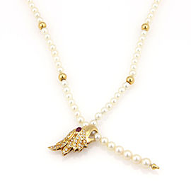 Carrera y Carrera 18K Yellow Gold Akoya Pearl Strand with Diamond & 0.12ct Ruby Eagle Pendant Necklace