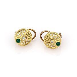 Judith Ripka 18K Yellow Gold with 0.38ct Diamond & 0.35ct Emerald Cabochon Disc Earrings