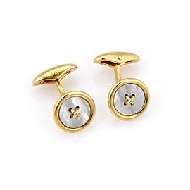 Tiffany & Co. 18K Yellow Gold with White Mother of Pearl Button Design Cufflinks