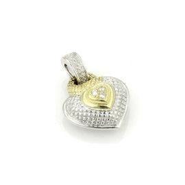 Judith Ripka 18K Yellow Gold & 925 Sterling Silver Diamond Heart Pendant