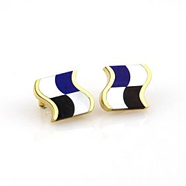 Tiffany & Co.18K Yellow Gold with Mother of Pearl Lapis Lazuli & Black Onyx Stud Earrings