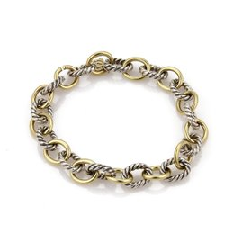 David Yurman 925 Sterling Silver & 18k Yellow Gold Cable Wire Oval Chain Link Bracelet