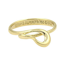 Tiffany & Co. Elsa Peretti 18K Yellow Gold 3D Twisted Open Heart Ring 5.75