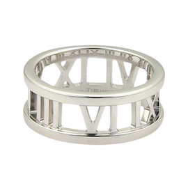 Tiffany & Co. Atlas 18K White Gold Open Roman Numeral Band Ring Size 4