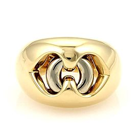 Bulgari Bvlgari 18K Yellow & White Gold Dual Open Heart Ring Size 5.5