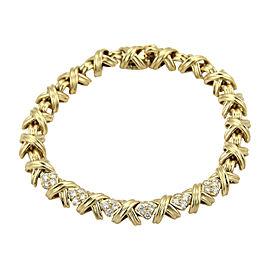Tiffany & Co. Signature X 18K Yellow Gold with 0.60ct Diamond Crossover Bracelet
