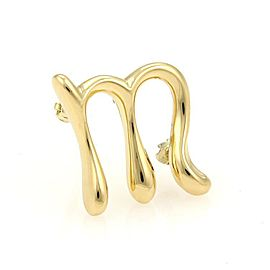 "Tiffany & Co. Elsa Peretti 18K Yellow Gold Initial ""M"" Pin Brooch"