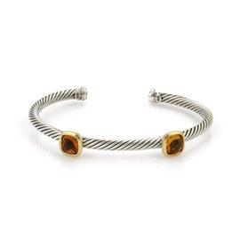 David Yurman Sterling Silver & 18K Yellow Gold Citrine Cable Wire Bangle Bracelet