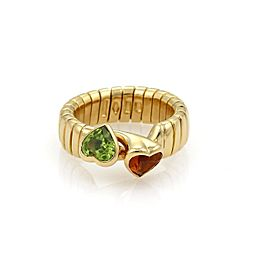 Bulgari 18K Yellow Gold Citrine & Peridot Hearts Tubogas Hook Ring Size 4.5