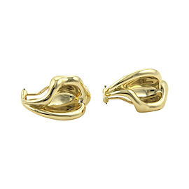 Tiffany & Co. Elsa Peretti 18K Yellow Gold Curved Leaf Clip On Earrings