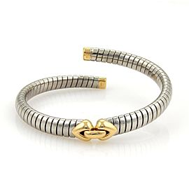Bulgari Tubogas Stainless Steel & 18K Yellow Gold Heart Open Flex Bracelet
